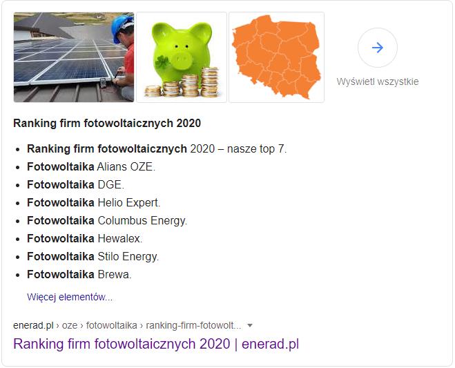 Screen rankingu firm fotowoltaicznych z Google