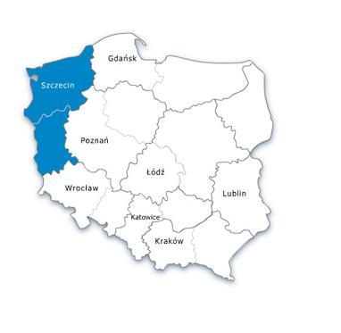 Mapa Polski - URE oddział północno-zachodni