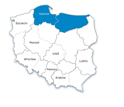 Mapa Polski - URE oddział północny