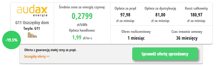 Audax Oszczędny dom - wynik z porównywarki cen prądu