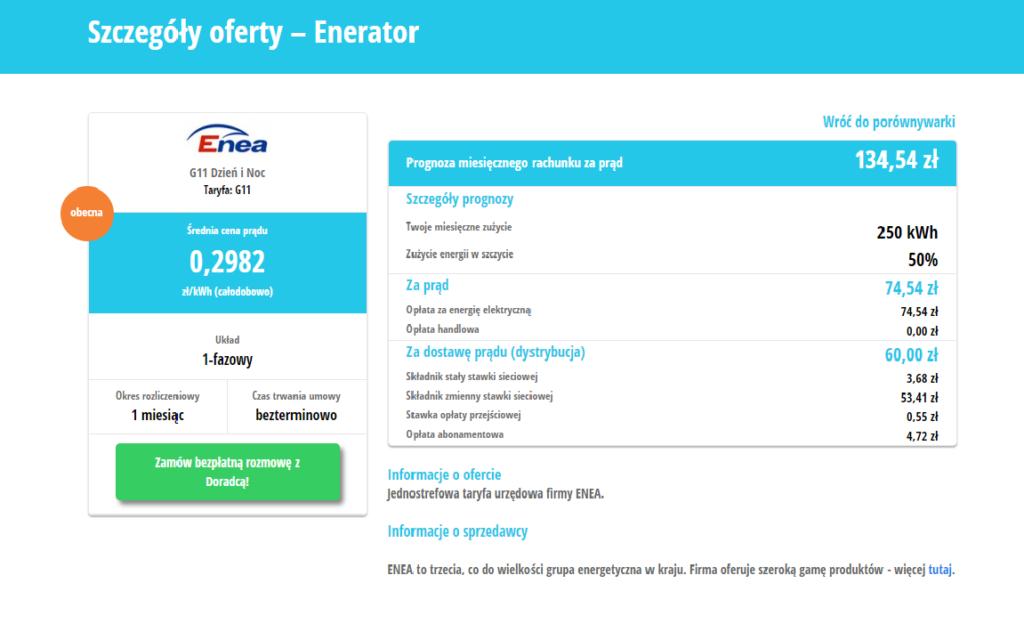 Ceny prądu z urzędu od Enea