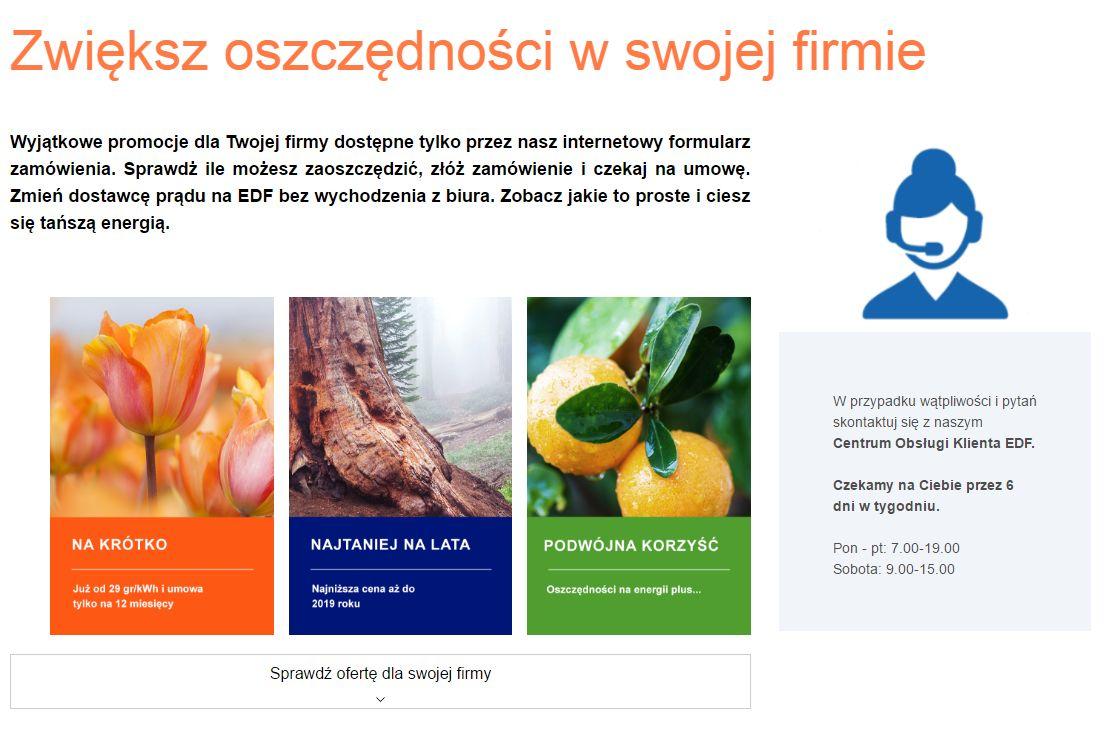EDF: pierwsza strona promocji online