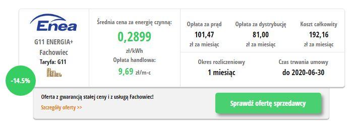 Enea ENERGIA+ Fachowiec - wynik z porównywarki cen prądu