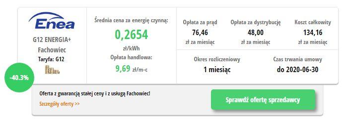 Enea ENERGIA+ Fachowiec G12- wynik z porównywarki cen prądu