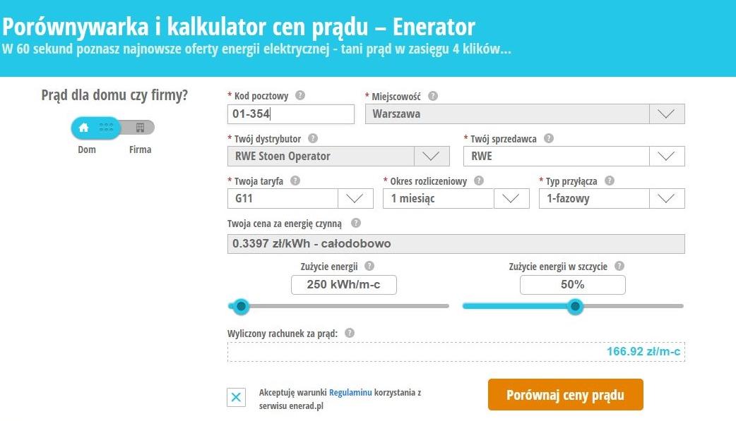 porównywarka cen prądu enerad.pl