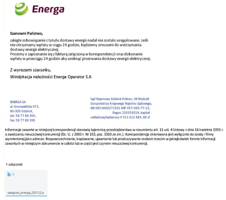 Energa e-mail fałszywy