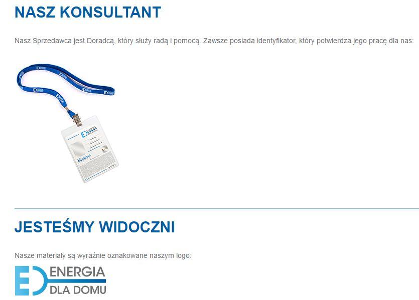 screen ze strony energia dla domu, przedstawiający logo oraz identyfikator firmy