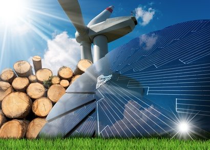 energia odnawialna - turbina wiatrowa, panele fotowoltaiczne i biomasa z drewna