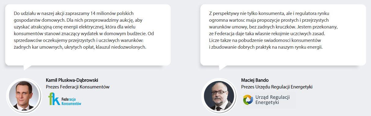 Wypowiedzi Prezesa Federacji Konsumentów oraz Prezesa URE o akcji Energia Razem.