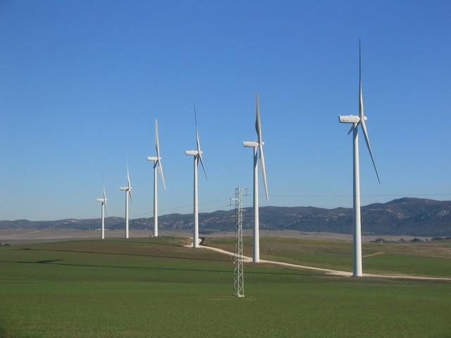 farma wiatrowa usytuowana w polu