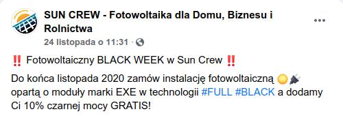 Promocja na fotowoltaikę SUN CREW.