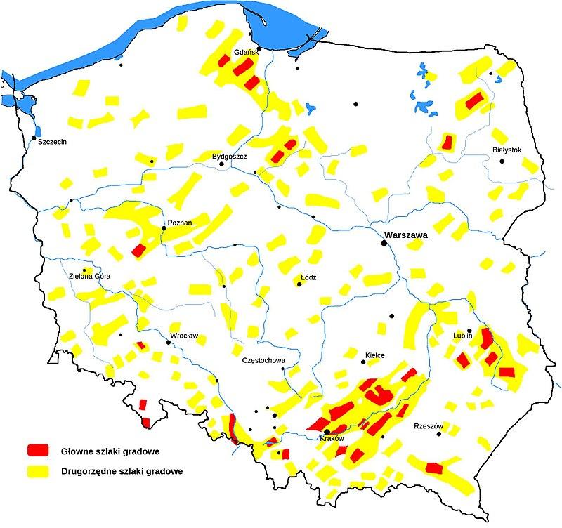 Szlaki gradowe w Polsce.