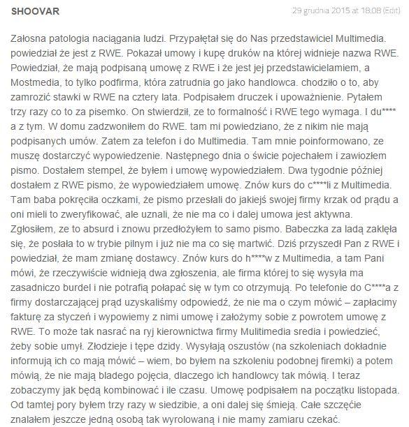 Komentarz z profilu Multimedia Energia