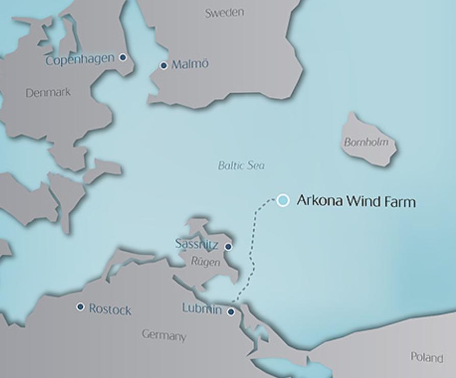mapa z lokalizacją farmy wiatrowej Arkona
