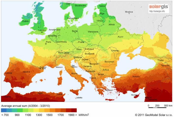 map solargis nasłonecznienie