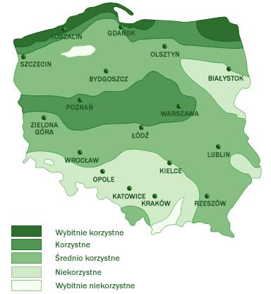 mapa warunków wiatrowych w Polsce