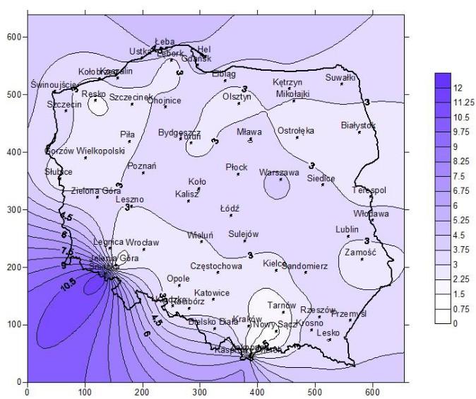 Mapa wietrzności Polski