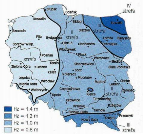 Mapa Polski z podziałem na cztery strefy