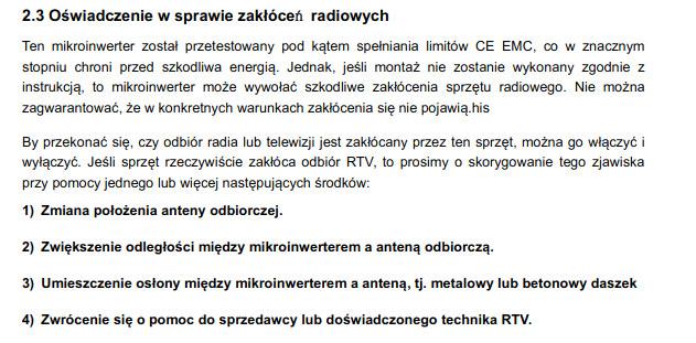 Mikroinwertery a zakłocenia fal radiowych.