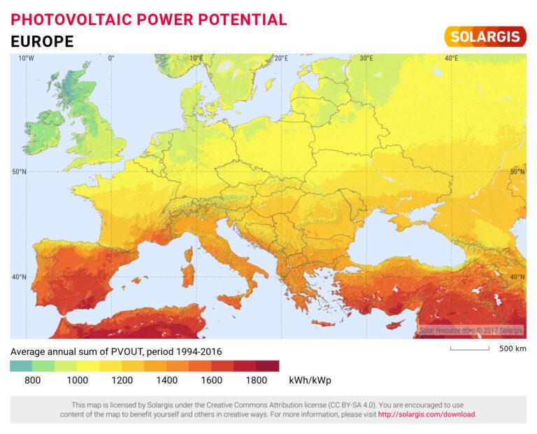 Nasłonecznienie w Europie.