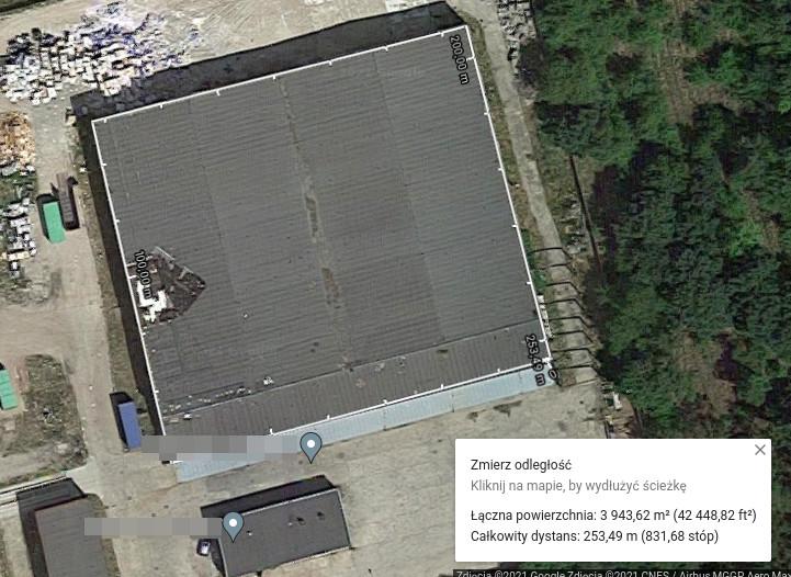 Obliczanie powierzchni Mapyy Google