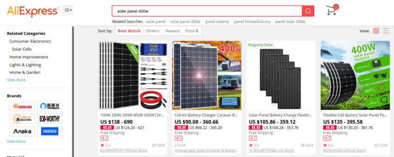 Przykładowe panele fotowoltaiczne 400 W z Aliexpress.