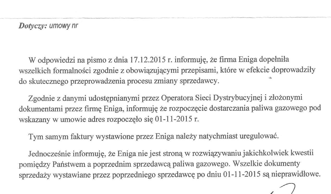 pismo od Enigi dot. Umowy
