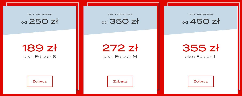 Edison Energia - plany abonamentowe