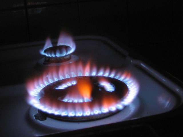 płomień z palników gazowych