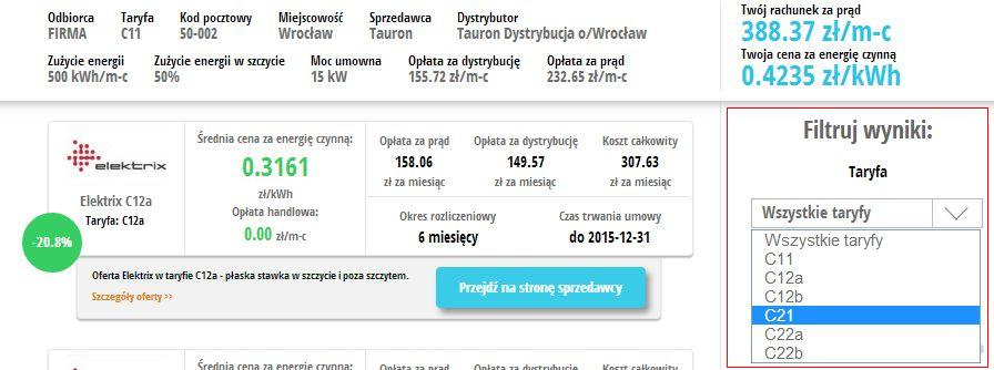 porownywarka cen pradu enerad.pl - taryfa C21 - porownanie ofert