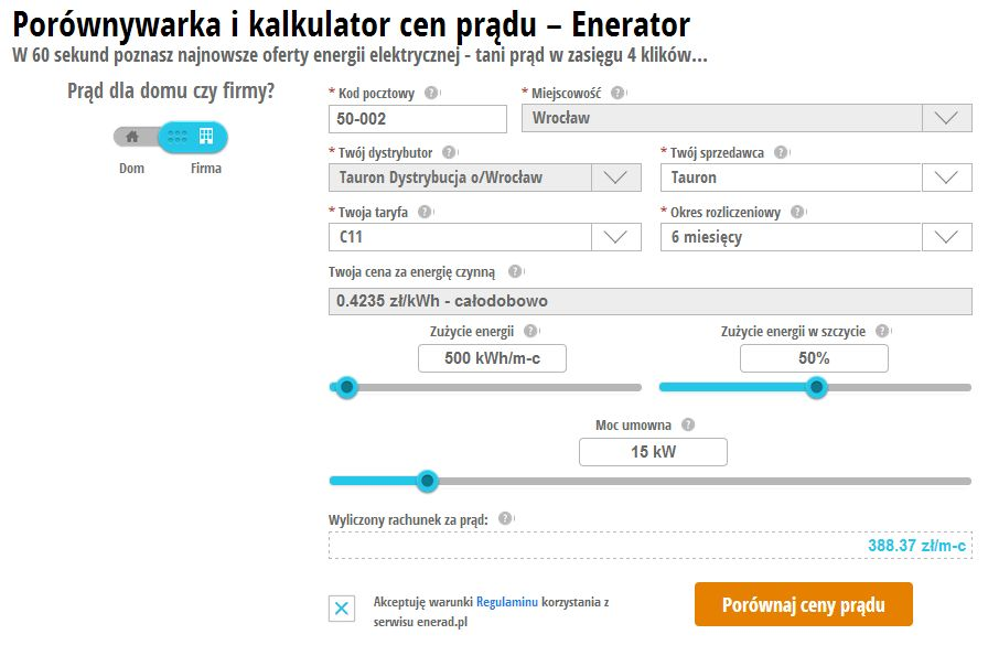 porownywarka cen pradu enerad.pl - taryfa C21