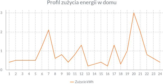 Profil zużycia energii w domu jednorodzinnym.