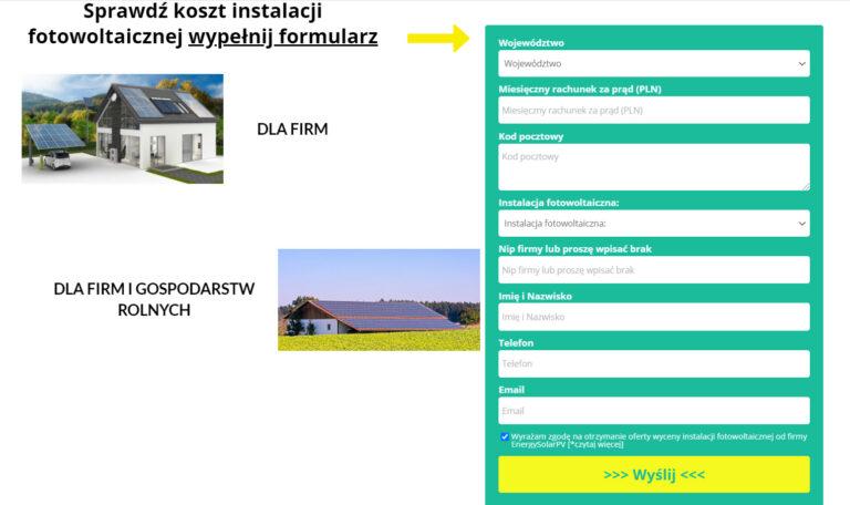 strona na instalację fotowoltaiki - formularz kontaktowy