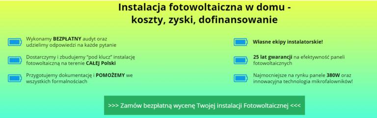 strona na instalację fotowoltaiki - korzysci