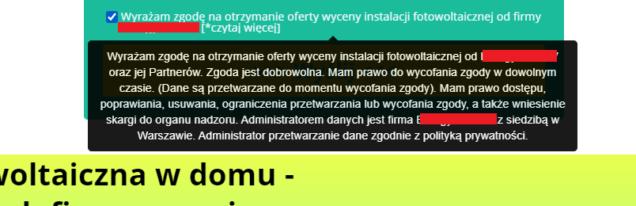 strona na instalację fotowoltaiki - zgody