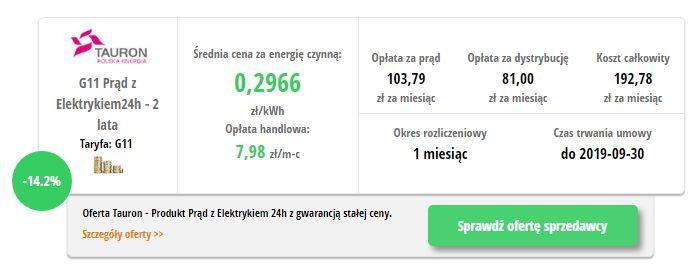 TAURON Elektryka 24H - wynik z porównywarki cen prądu