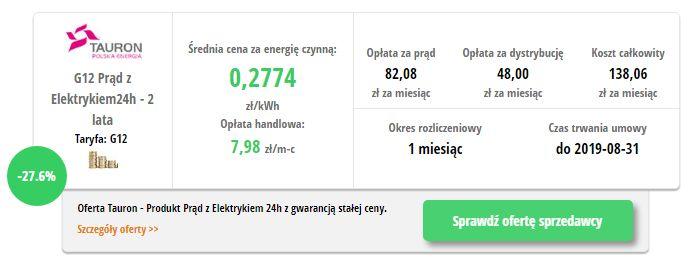 TAURON Elektryka 24H G12 - wynik z porównywarki cen prądu