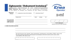 Wniosek Zgłoszenie instalacji fotowoltaicznej ENEA - pdf do pobrania.