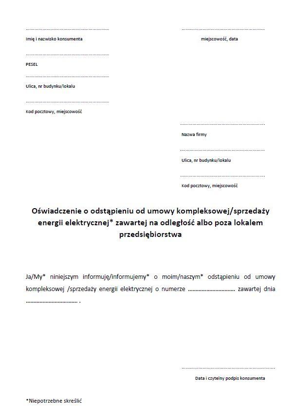 Wzór oświadczenia o odstąpieniu od umowy zawartej na odległość